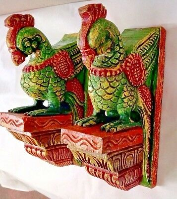 Hand carved Peacock Wooden Corbel Bracket Pair Wall Hanging Parrot Sculpture UK