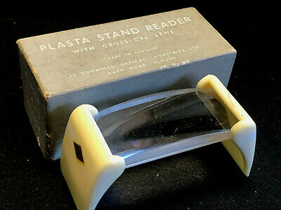 Vtg COIL Fixed Plasta Stand Reader w/ Cross-Cyl Lens Magnifier England in Box
