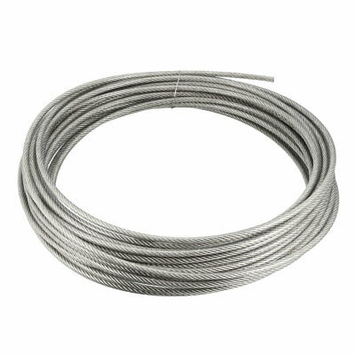 Stainless Steel Wire Rope Cable 4mmx16m 8 Gauge PVC Coated Hoist Grinder Pulley