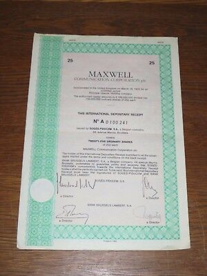 Maxwell Communication Corporation 25 Ordinary Shares