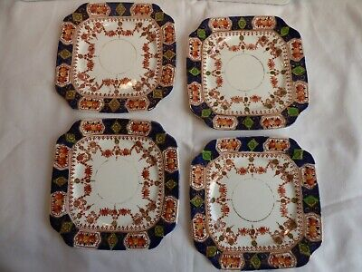 4 Art Deco St Michael Bone China Square Tea Plates - Pattern 2586