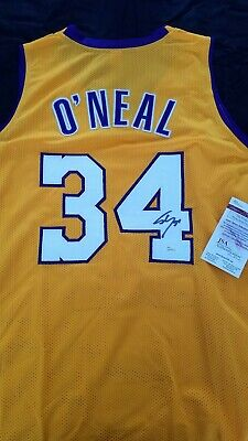 46a1ad82ea6 Signed Auto SHAQUILLE SHAQ O NEAL Yellow Los Angeles Lakers Jersey JSA COA