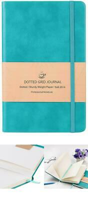 Dotted Bullet Grid Journal Hard Cover Notebook Thick Inner Pocket Mint, Leather