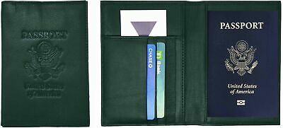 Genuine Cowhide Leather Jungle Green RFID-Blocking Passport Cover Case