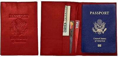 Genuine Red Cowhide Leather Passport Cover Case Holder & Wallet