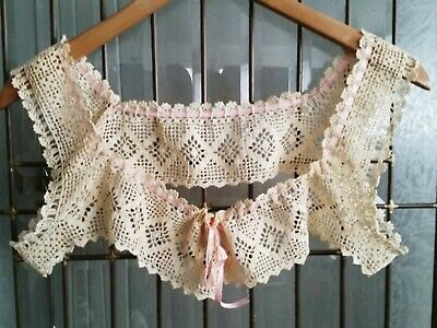 Victorian Hand Crochet Ivory Camisole Nightgown Bodice With Pink Silk Ribbons