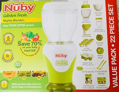 NEW Nuby GARDEN FRESH MIGHTY BLENDER Babyfood Baby Food Meals 22 Pc Set BPA Free