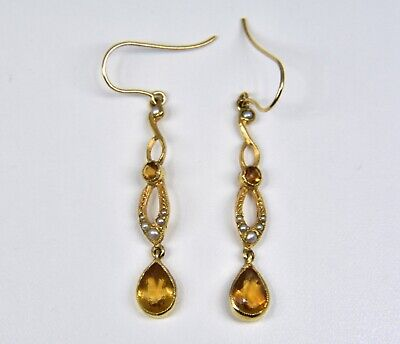 Antique Victorian 14ct Gold Citrine & Seed Pearl Drop Earrings, C1880