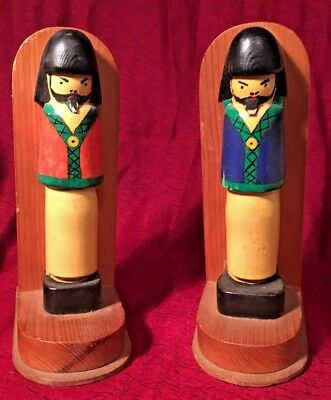 Pair of Wooden Book Ends Soldiers Carving