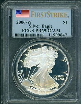 2006-W American Silver Eagle ASE S$1 PCGS PF69 PROOF PR69 FIRST STRIKE F.S. !!!