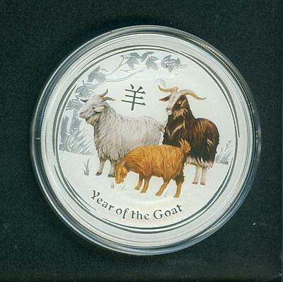 2015 $2 AUSTRALIA 2 DOLLARS LUNAR GOAT 2 Oz COLORIZED SILVER BULLION PERTH MINT