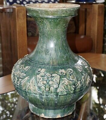 Han Dynasty Hu Green Glazed Mythical Beasts Vessel