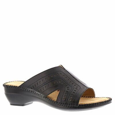 b84a0aeef3 Auditions Womens Kelly Leather Open Toe Casual Slide Sandals, Black, Size  10.0 v