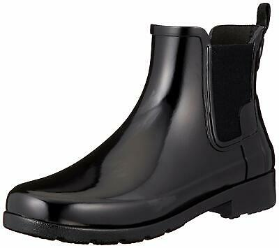 Hunter Womens refined chelsea Rubber Closed Toe Ankle Cold, Black, Size 6.0 Kf2o