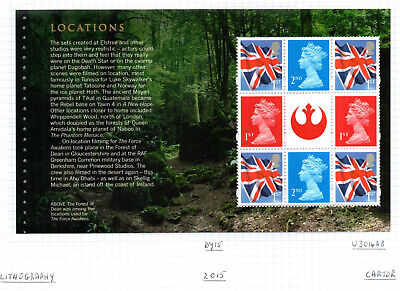 2015 Gb Qe2 Dy15 Star Wars Commemorative Prestige Stamp Booklet Pane Dp492 Mnh