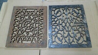 2 Cast Iron grate/vent COVERS craftsman Victorian wall/floor notmatching pair