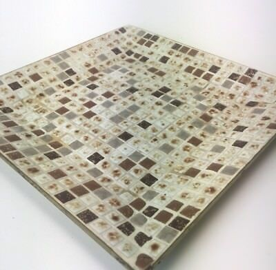 Inlay Ceramic Tile Mosaic Square Tray Earth Tones Copper Gold Trinkets VTG MCM
