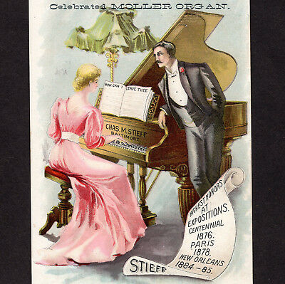 Charles M Stieff Piano Baltimore Factory View Music Store Advertising Trade Card
