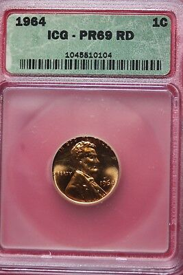 1964 PR 69 Proof Lincoln Memorial Cent ICG Certified Graded Genuine Slab OCE 865