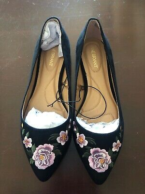 aed9f6de8e17e Lane Bryant Women's Floral Embroidered Pointed-Toe Flats Black Sz 10 Wide