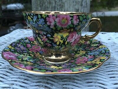 Rare Vintage Rosina Made in England Bone China Chintz Cup and Scalloped Saucer