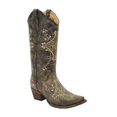 Corral Boots Women Circle G Crackle Scroll Bone 8 Embroidered Western Shoes