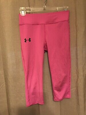 Under Armour Youth Girls Fitted Capri Pants Athletic Leggings YMD Medium Pink