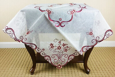 Square Embroidered Tablecloth Polyester Red Embroidery Organza Red Sequins 36""