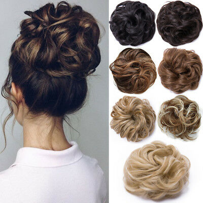 100% Natural Curly Messy Bun Hair Piece Scrunchie Real Thick Hair Extensions Fh1