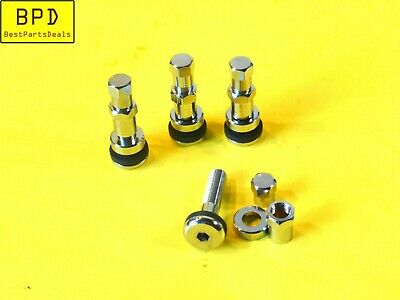 4 Piece Set Bolt In Flush Mount Metal Tire Valve Stems High Pressure CHROME