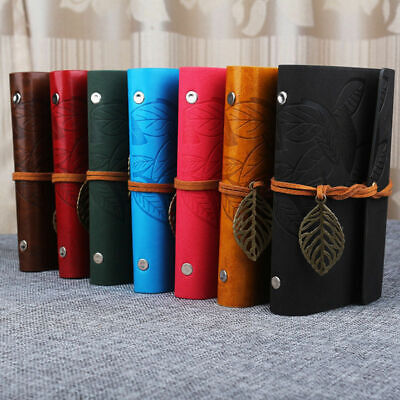 Retro Leaf Vintage PU Leather Cover NoteBook Diary Journal String Trave DOX