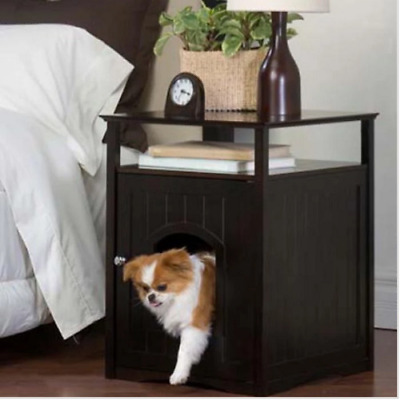 Pet House Cat Litter Box Cover Nightstand End Table Wood Espresso
