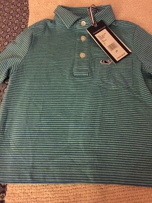a79e08d48 NWT VINEYARD VINES Boys S/S Performance Polo Wilson Stripe Size 2T ...