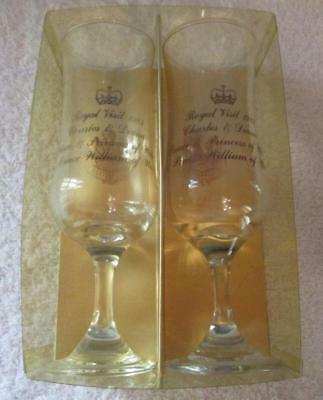 1983 Australian Royal Visit Charles & Diana & Prince William Wine Glasses in Box