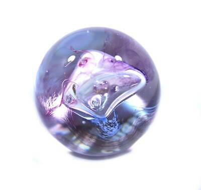 Vintage Caithness Mooncrystal purple & pink swirl glass paperweight