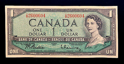 1954 Canada $1.00 Without Devils Head (BABN-I/M Prefix) Firm Note