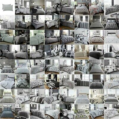 Luxury Duvet Quilt Cover Bedding sets Pillowcase Single Double King Silver Grey