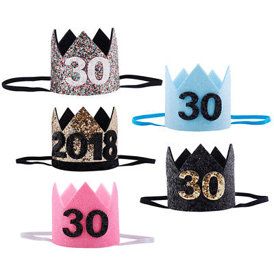 30th Glitter Birthday Crown New Years Day Party Hat Headband Decoration