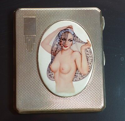 Art Deco Silver Cigarette Case with picture of Semi Nude lady c1935