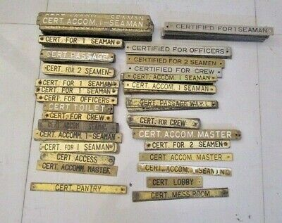 Lot of 300 pcs VINTAGE Marine BRASS Door Sign -  Boat/Nautical - ORIGINAL (2668)
