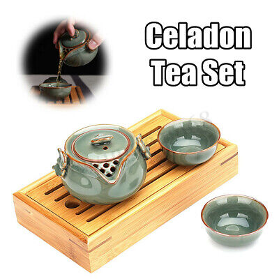 Handmade Chinese Longquan Celadon Tea Set Portable Ceramics Kung Fu Tea Drinking