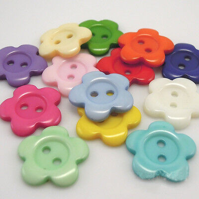 100pcs Mixed Color Innovative Flower Shape Resin Buttons 14 mm Hot Sale Sewing