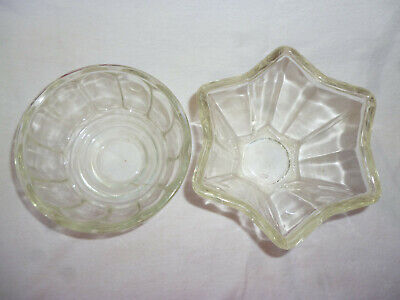2 VINTAGE DEPRESSION GLASS JELLY MOULDS - good condition - 1940s