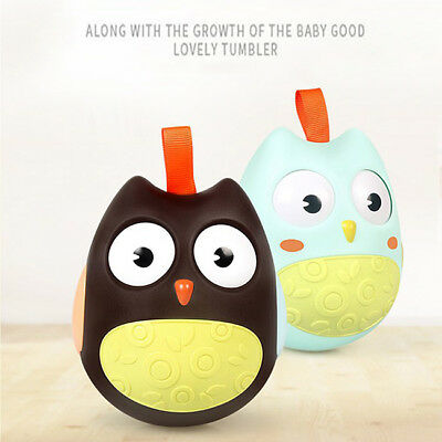 Nodding Moving Eyes Owl Doll Baby Rattles Tumbler Toy With Bell Kids Baby Toys B