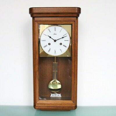HERMLE WALL CLOCK CLASSIC DESIGN! 3 Bar Chime! OAK WOOD! Gilded SERVICED Germany