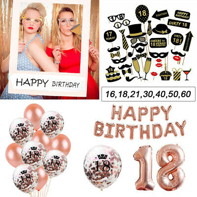 Happy Birthday Bunting Banner Letter Balloons 18/21st/30/40/50/60 Party Decor UK