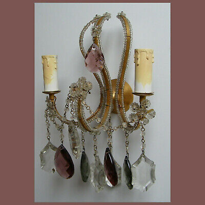 Vintage Multicolor Crystal Prisms Gilded Wall Sconce 2 Lights Shabby Chic