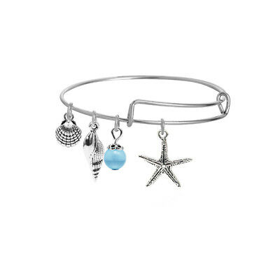 Women Personality Starfish Love Alloy Round Wire Ring Bracelet Multi-style B