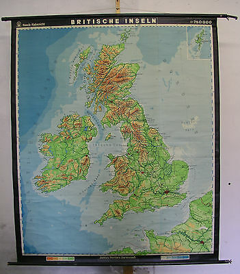 Schulwandkarte Old Wall Map School Map Map British Islands 149x176cm 1960