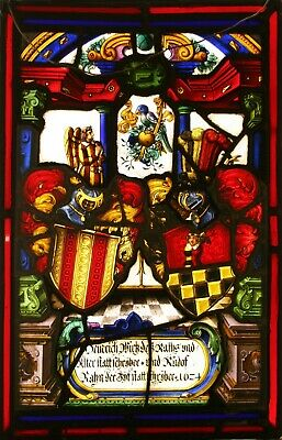 Original 17th Century Swiss Armorial STAINED GLASS Window  - We Ship Worldwide